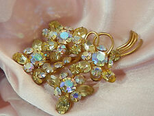 Extremely Sparkly Vintage 1950's Yellow AB Rhinestone Flower Brooch 615N4