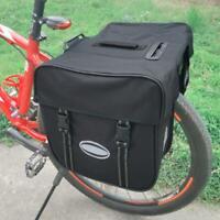 28L Bicycle Rear Seat Double Pannier Bag MTB Bike Tail Storage Carrier Bag Black