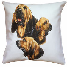 More details for bloodhound group breed of dog cotton cushion cover - perfect gift