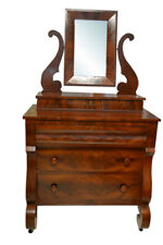 Antique American Empire Flaming Mahogany Chest, Dresser, Mirror, Ca 1840, PA2605
