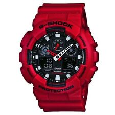 Casio GA-100B-4AER Mens G-Shock World Time Red Resin Strap Watch RRP £110