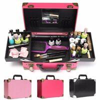 Travel Large Cosmetic Case Carry Box Storage Handbag Makeup Beauty Organiser PU