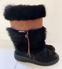 OSCAR SPORT Italy Cristina Women Faux Fur Boots Sz 38 (7) Black Brown Accents