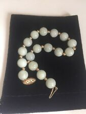 "Green Jadeite Jade Beads Beaded 14K Yellow Gold Bracelet 7"" 8-8.5mm"