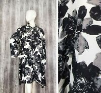the MASAI Womens Shirt Dress Tunic Monochrome Floral Long sleeve size XXL/2XL