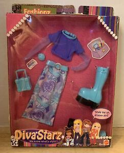 2002 Mattel DIVA STARZ FASHIONZ ~ Purple Shirt & Print Maxi Skirt & Accessories