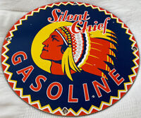 VINTAGE SILENT CHEIF GASOLINE PORCELAIN GAS STATION SIGN MOTOR OIL PUMP PLATE
