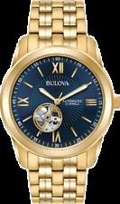 Bulova Para Hombre 97A131 Automático Esfera Azul Corazón Abierto Pulsera De Tono Oro Reloj De 42mm