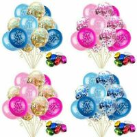 15pcs First 1st Birthday Number 1 Boy Girl Balloons Bunting Baby Pink Blue Party