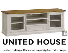 Large White Contemporary Entertainment Unit TV Stand Wood Shabby Chic Furniture