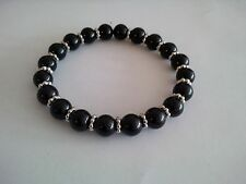 Glass Pearl Black w/ Silver Metal Daisy Shape Bead Stretch Bracelet