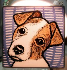 """Jack Russell Terrier Windshop stained glass dog suncatcher kiln-fired 4""""x 4"""" #53"""