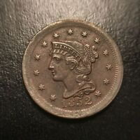 1852 Braided Hair Large Cent Uncirculated UNC Coronet Late Date Newcomb EAC