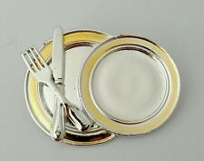 Dinner Plate Brooch Danecraft Knife Fork Pin Gold Silver Tone Signed