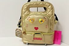 Betsey Johnson Gold Metallic Insulated Lunch Tote Cross body Quilted NWT