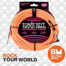 Ernie Ball 6079 Guitar Instrument Cable 10ft Braided Straight/angle Neon Orange