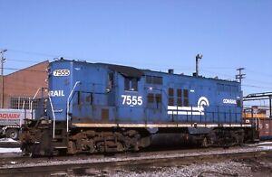 Original Slide: Conrail GP10 7555 with White Frame Stripe