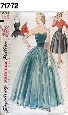 VTG Sewing Pattern Simplicity #3694 Size 12 Bust 30 Dress ,Bolero 1951