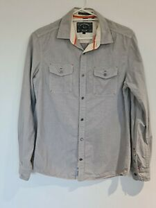 Buffalo DB Mens Long Sleeve Button Up Shirt Small Grey White Embroidered VGC