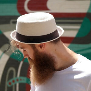Bobby Mens Womens Summer Crushable Retro Straw Porkpie Hat
