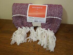 "Afghan & Throw Blanket Woven Stripe Throw Blanket Purple Farmhouse ""50 x 60"""