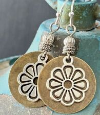 Mixed Metal Bronze and Silver Flower Earrings. Bloom. Bohemian.