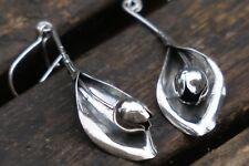 Silver Flower Earrings, Tulip Earrings, Sterling Silver Dangle Earrings, UK