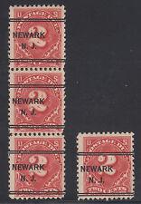 US Sc J62 used 1917 2c Postage Due, Strip + Single w/ NEWARK, NJ Precancels
