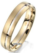 10K TWO TONE GOLD  MENS WEDDING BANDS RINGS 5MM SATIN FINISH