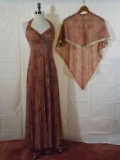 Classy Cherry Blossom Print Accordian Pleat VTG HALTER MAXI DRESS & SHAWL 9/10
