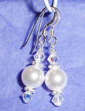 Custom Crystal & Pearls Bride Bridesmaid Prom Earrings 925 SS made w/Swarovski