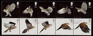 GREAT BRITAIN 2003 BIRDS OF PREY FINE USED BLOCK OF 10