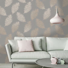 Fawning Feather Grey Rose Gold Feature Wallpaper