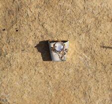 Solid 14K Yellow Gold Vintage Moonstone Bracelet Slide Charm Flower Floral Desig