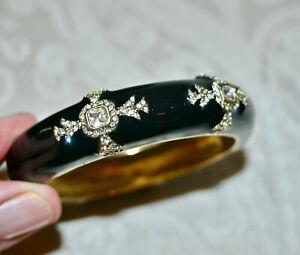 New $100 HEIDI DAUS Day and Night Enamel Bangle Bracelet Black Clear Crystal M/L