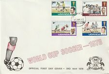 UGANDA 3 MAY 1978 WORLD CUP ARGENTINA '78 SET OF ALL 4 ON O/S FIRST DAY COVER