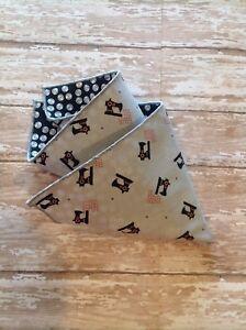 NEW Men's Pocket Square Black White Gray Polka Dots Sewing Red Reversible