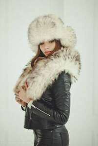 Trapper Hat Women Real Fur Hats Winter with Ear Flaps Womens Accessories (White)
