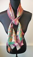 Etro NWT Shimmery Pink Colorful Print Oblong Scarf Silk and Wool Retail $355