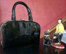 True Vintage Handbag Black Flat Large Snap Clasp Retro Mid Century Modern Mod