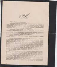 *1930 Faire-part décès Jules de GIRARDIER - Villerest (Loire)
