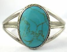 Vintage Mexico Sterling Silver 925 Large Turquoise Three Banded Cuff Bracelet