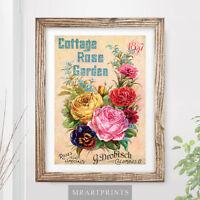 VINTAGE FLOWERS Art Print Poster Bouquet Cottage Rose Garden Floral Victorian