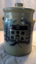 "1994 Maple City Salt Glazed 8"" Biscuit Cookie Jar w/ picture of School House"
