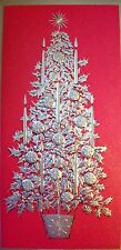 Vtg Christmas Tree Hallmark Slim Jim Greeting Card Embossed Gold & Red