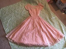Vintage Peach Lace Dress Button Back