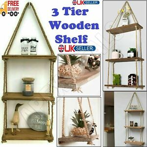 Wooden Hanging Rope Shelf Wall Mounted Floating Shelf Storage Rustic - 3 Tiers