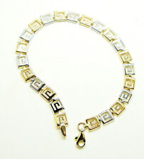 9CT HALLMARKED YELLOW & WHITE GOLD POLISHED GRECIAN KEY BRACELET - 7.5""