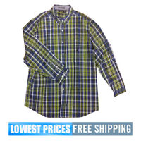 Nautica Men's NWT W43138 Key Item 7 Button Down Long Sleeve Blue Shirt Free Ship