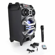 Bluetooth 500W Pyle Portable Dj Pa Speaker System Fm Mic Usb/Sd Aux-In & Remote